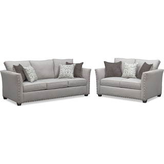 Mckenna Sofa and Loveseat Set - Pewter