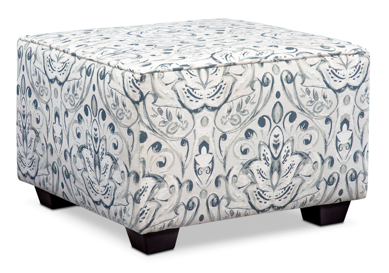 Living Room Furniture - Mckenna Accent Ottoman - Multi Pewter