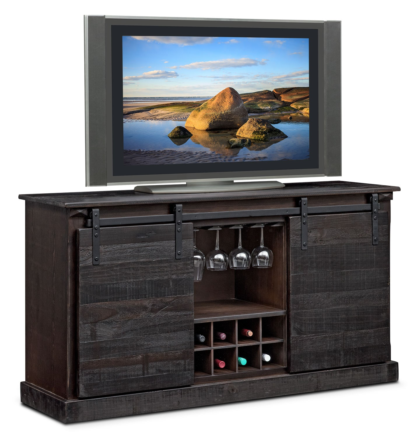 Accent And Occasional Furniture   Ashcroft Media Credenza With Wine Storage    Charcoal
