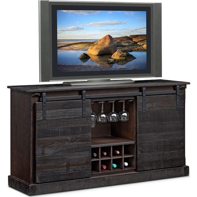 Entertainment Furniture - Ashcroft Media Credenza with Wine Storage - Charcoal