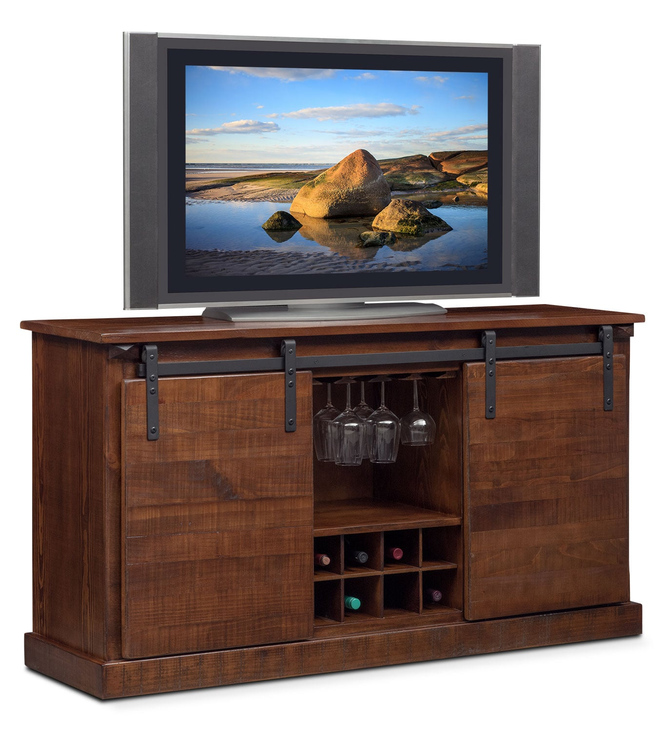 Ashcroft Media Credenza with Wine Storage - Chocolate