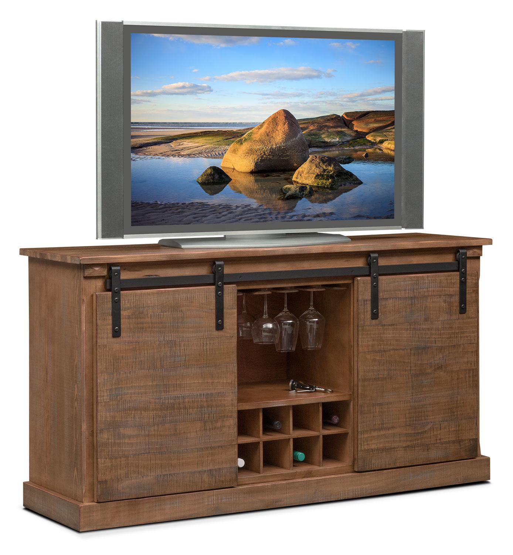 Ashcroft Media Credenza With Wine Storage Driftwood American Signature Furniture