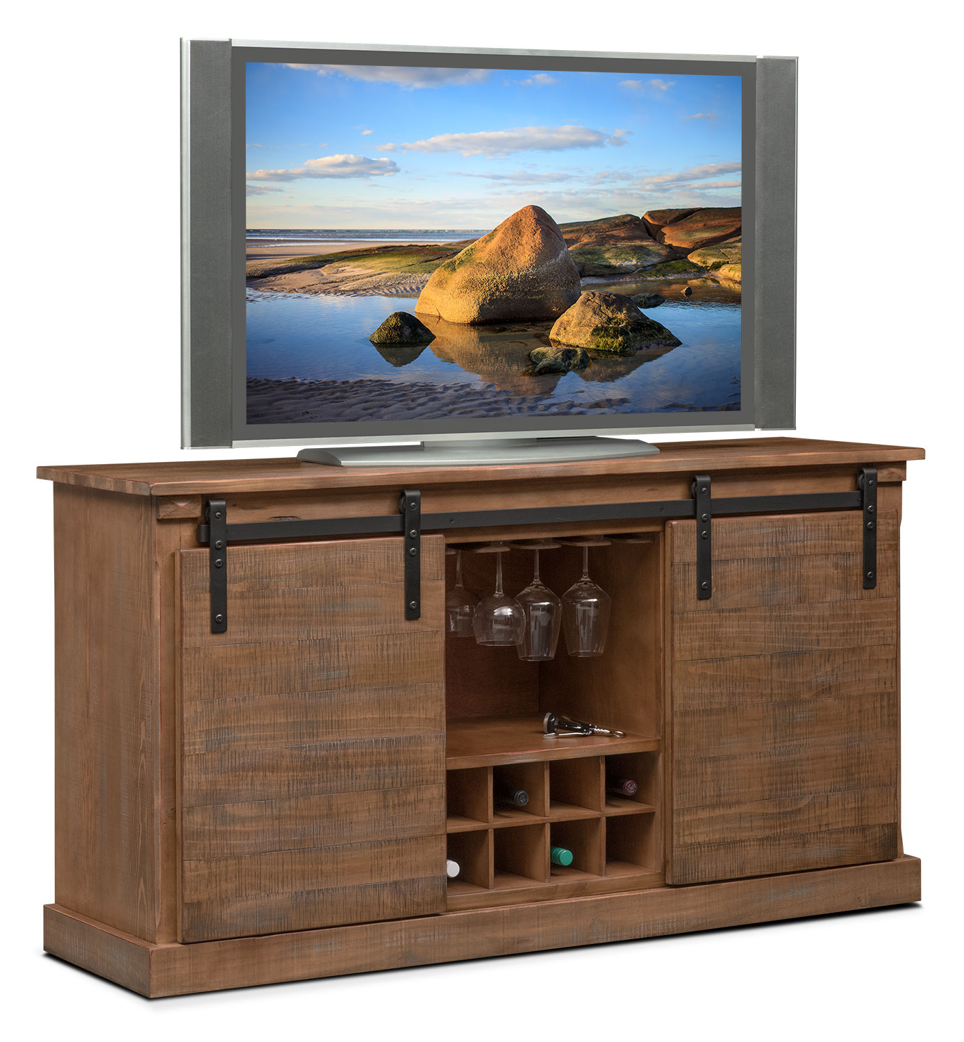 Accent and Occasional Furniture - Ashcroft Media Credenza with Wine Storage - Driftwood