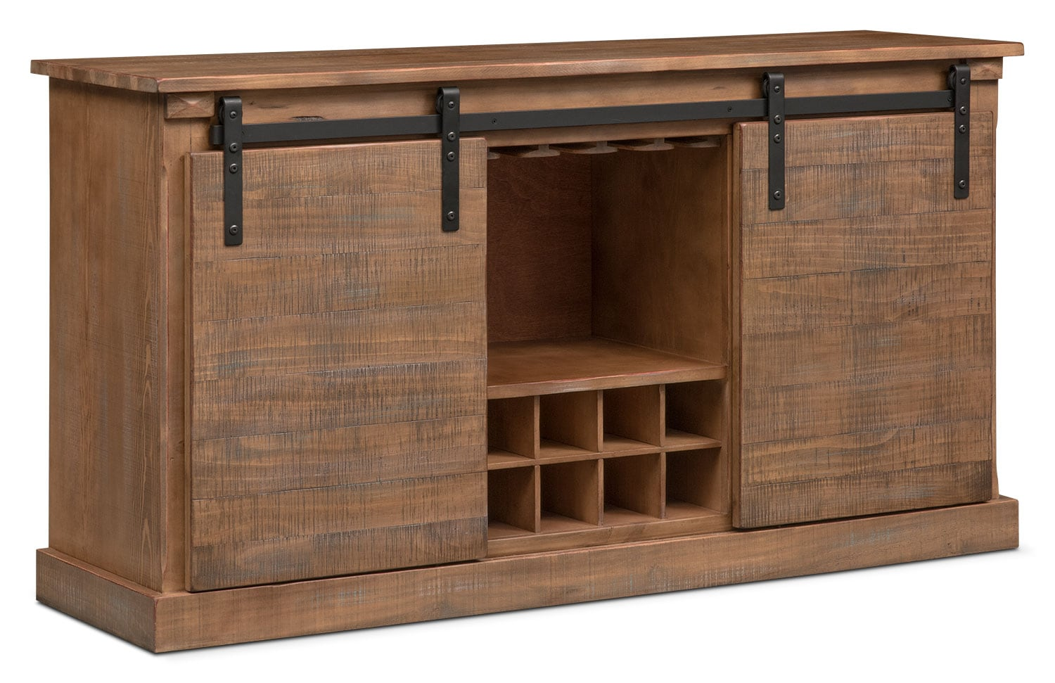 Ashcroft Media Credenza with Wine Storage - Driftwood | American ...