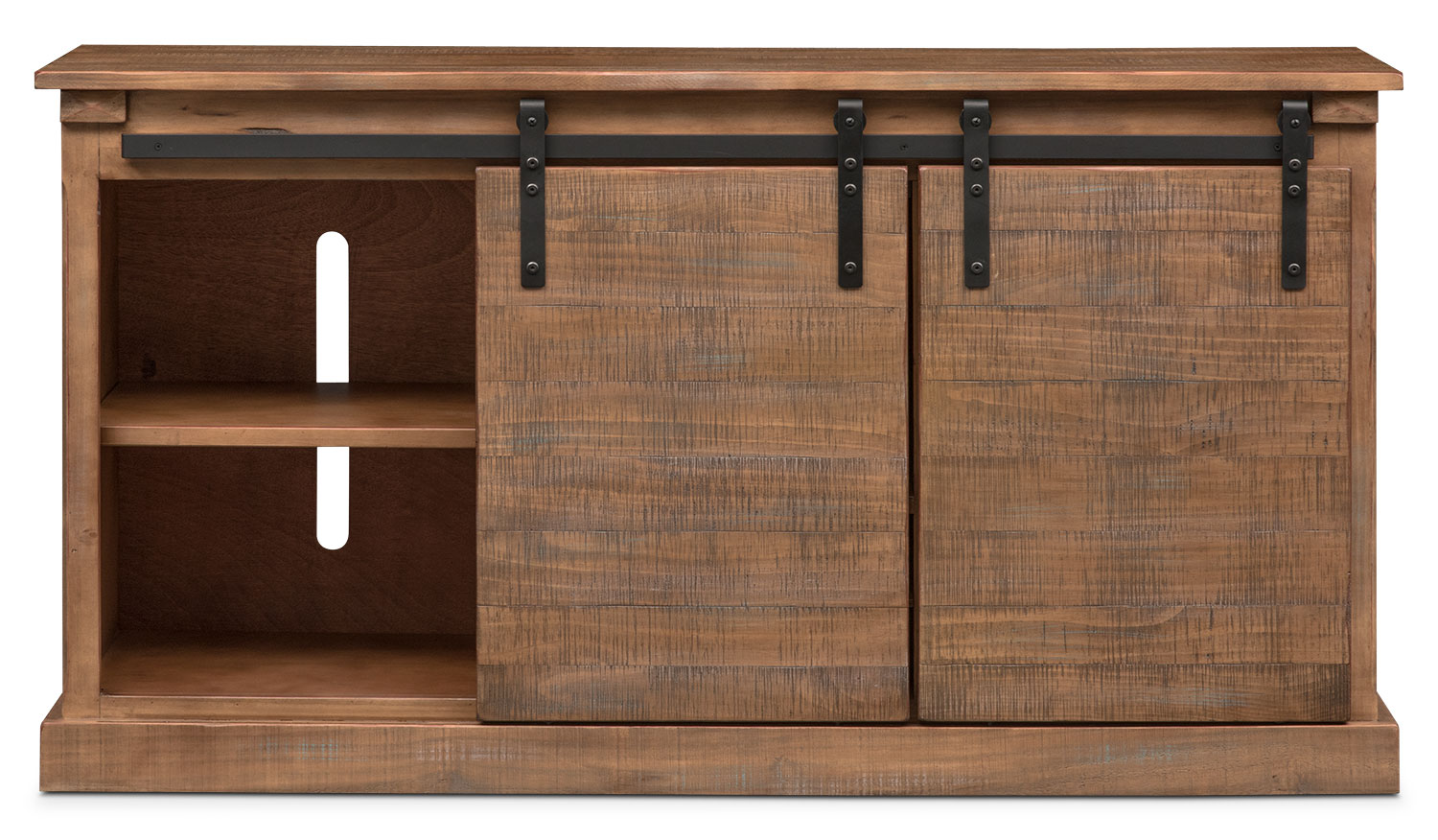 Click to change image. & Ashcroft Media Credenza with Wine Storage - Driftwood | American ...
