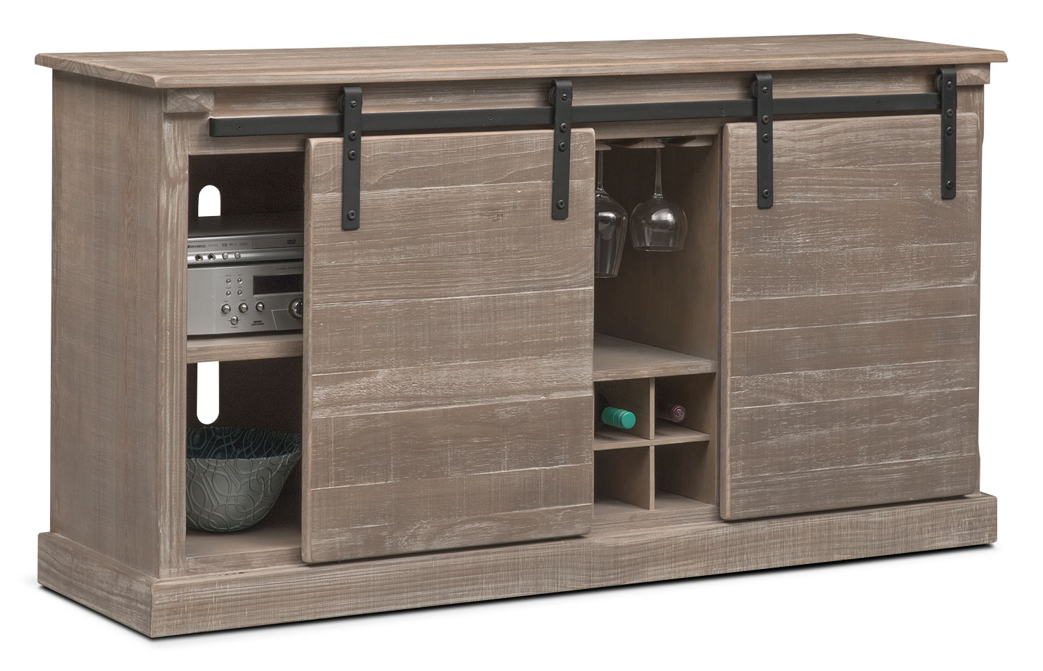 Ashcroft 65 Quot Tv Stand With Wine Storage Gray American