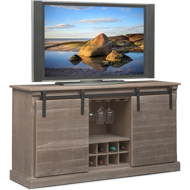 Accent and Occasional Furniture - Ashcroft Media Credenza with Wine Storage - Gray