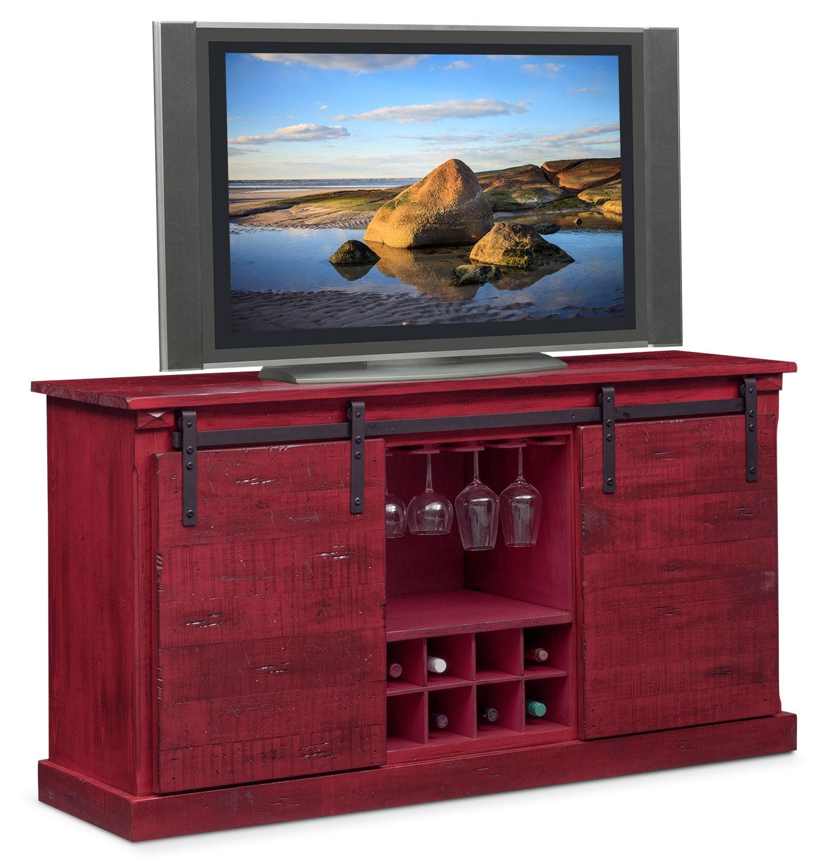 Ashcroft Media Credenza With Wine Storage Red American Signature Furniture