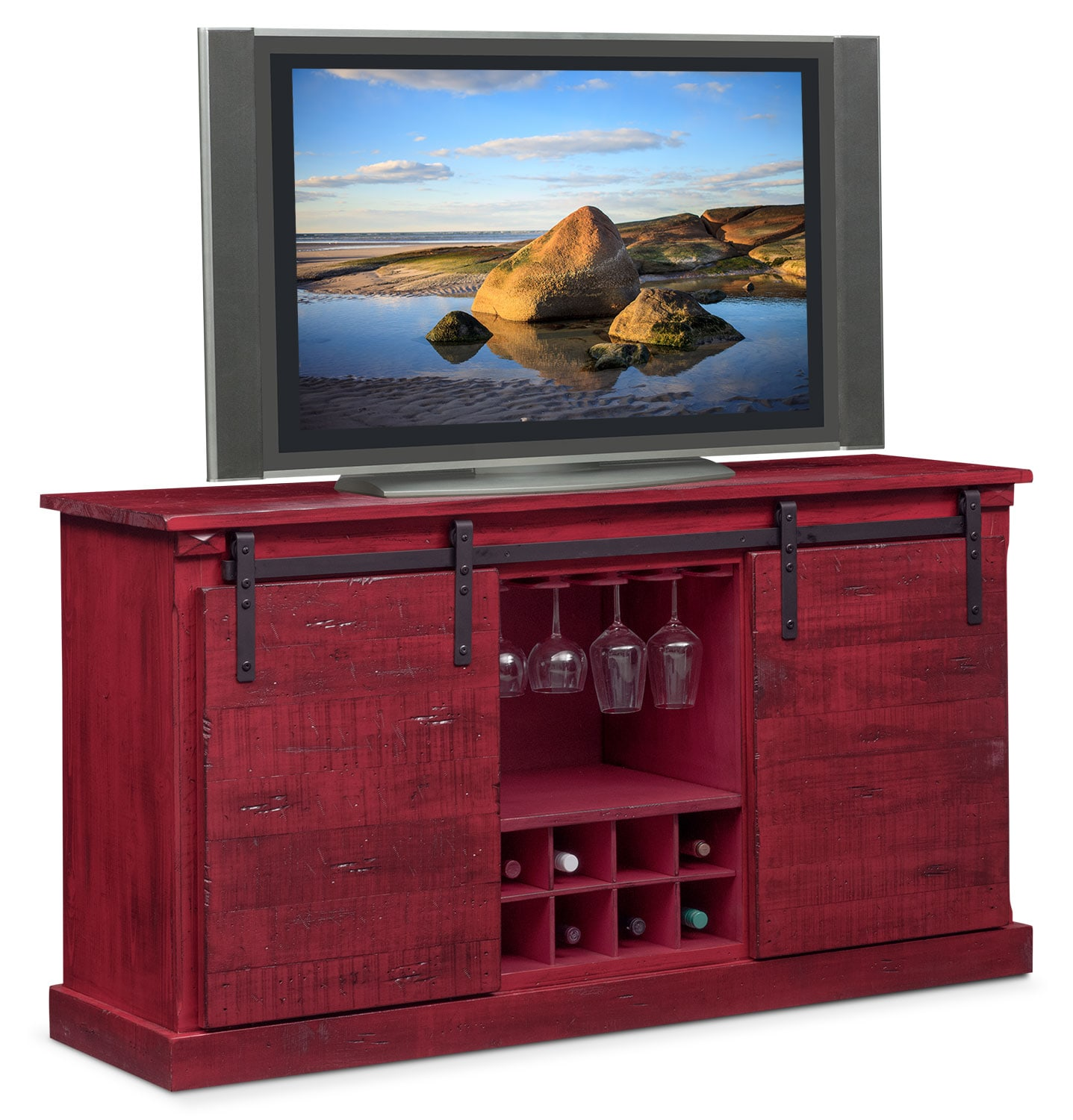 Good Entertainment Furniture   Ashcroft Media Credenza With Wine Storage   Red