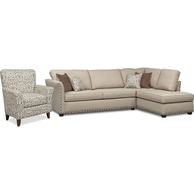 Living Room Furniture - Mckenna 2-Piece Queen Memory Foam Sleeper Sectional and Accent Chair - Sand