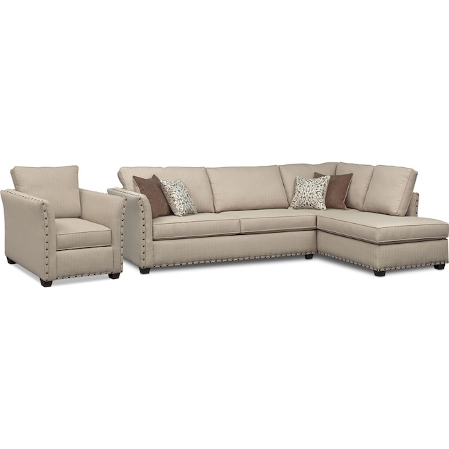 Living Room Furniture - Mckenna 2-Piece Queen Innerspring Sleeper Sectional and Chair - Sand