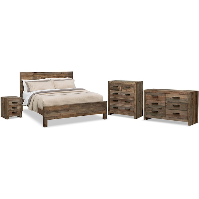 Rancho 6-Piece King Bedroom Set - Pine | American Signature Furniture