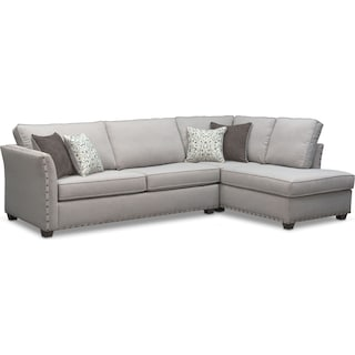 Mckenna 2-Piece Queen Memory Foam Sleeper Sectional - Pewter