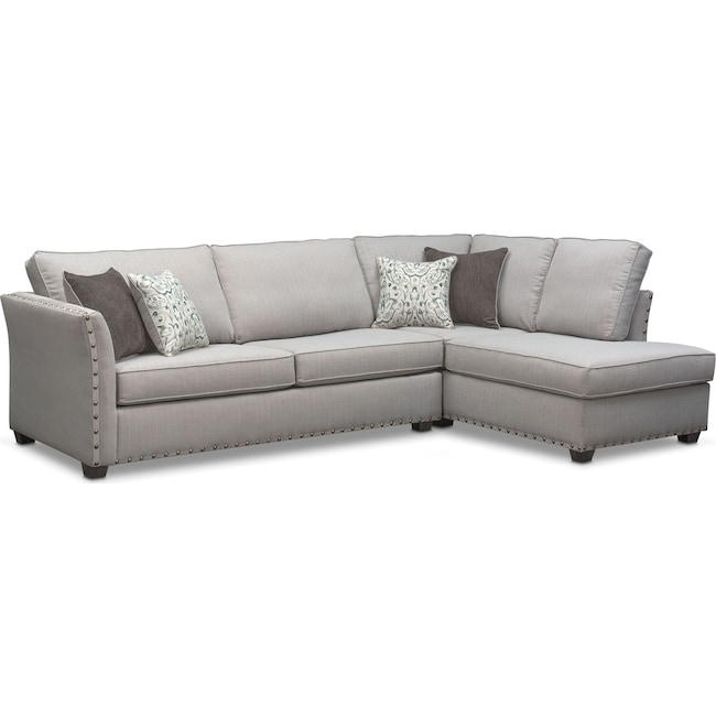 Living Room Furniture - Mckenna 2-Piece Queen Innerspring Sleeper Sectional - Pewter