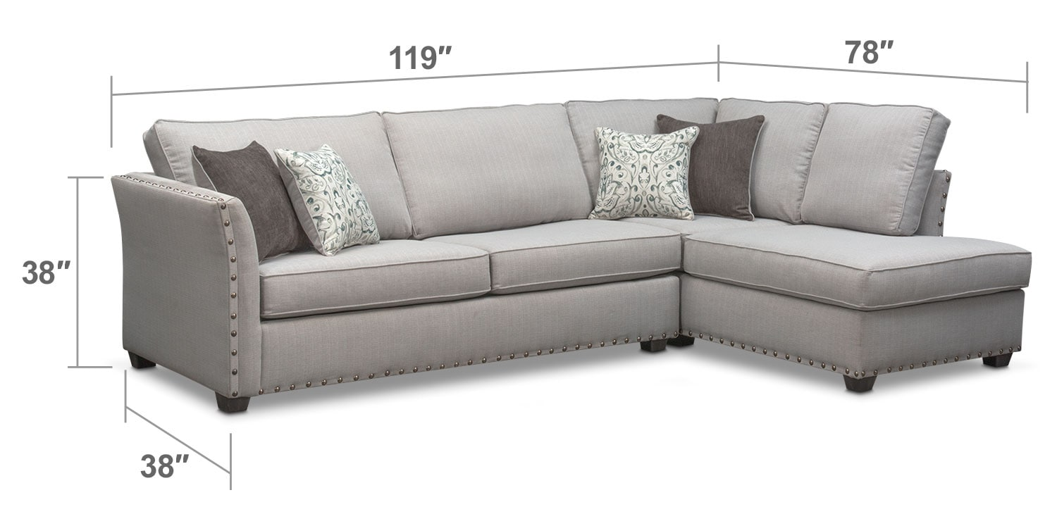 Living Room Furniture - Mckenna 2-Piece Queen Memory Foam Sleeper Sectional - Pewter