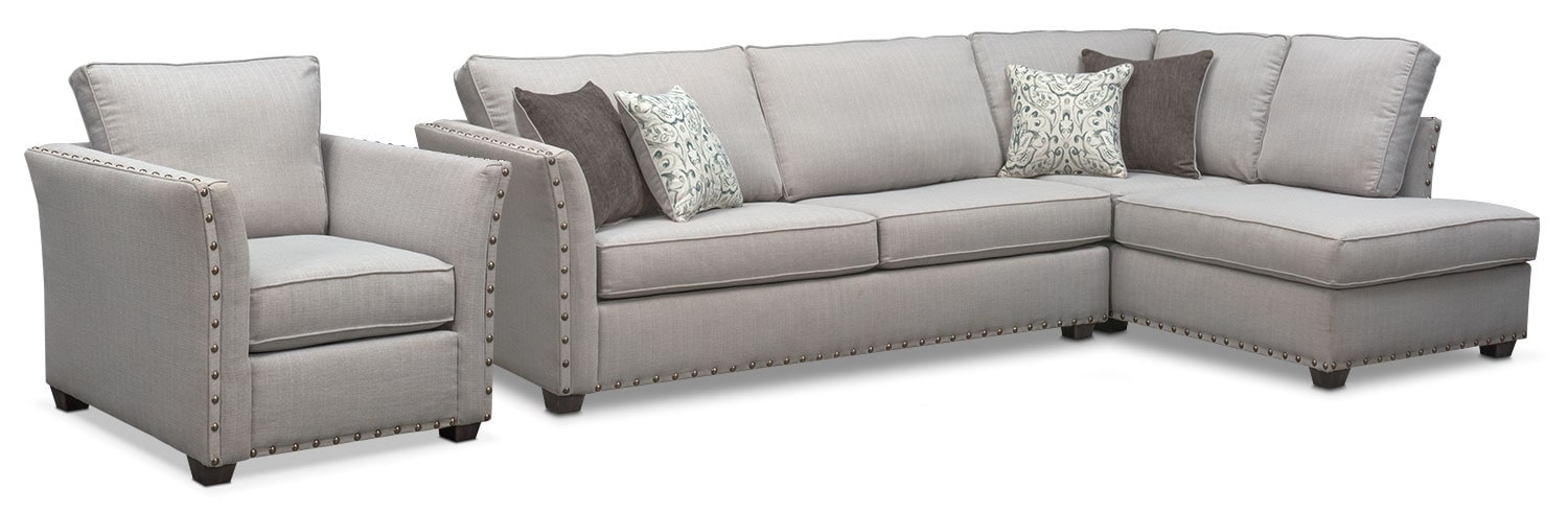Mckenna 2-Piece Sectional and Chair - Pewter