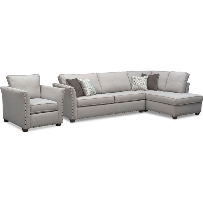 Living Room Furniture - Mckenna 2-Piece Queen Memory Foam Sleeper Sectional and Chair - Pewter