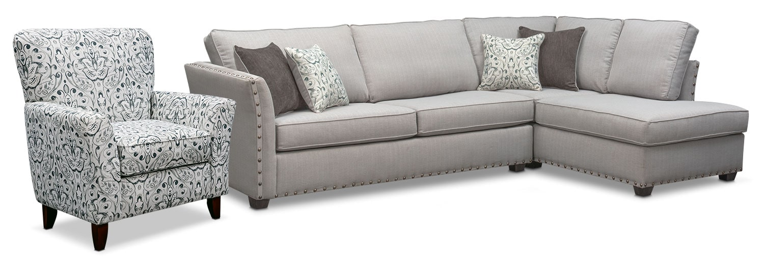 Living Room Furniture - Mckenna 2-Piece Queen Innerspring Sleeper Sectional and Accent Chair - Pewter