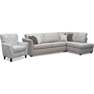 Mckenna 2-Piece Sectional and Accent Chair - Pewter
