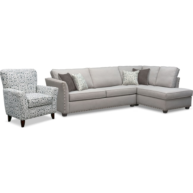 Living Room Furniture - Mckenna 2-Piece Sectional with Accent Chair Set