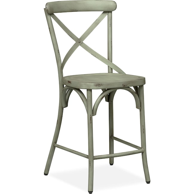 Dining Room Furniture - Saxon X-Back Counter-Height Stool - Green
