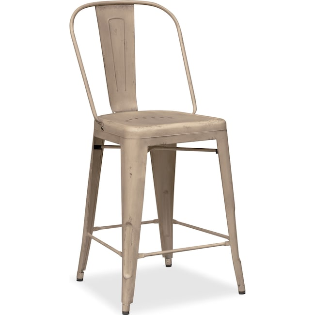 Dining Room Furniture - Olin Splat-Back Barstool - Ivory