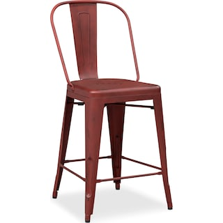 Olin Splat-Back Counter-Height Stool - Red
