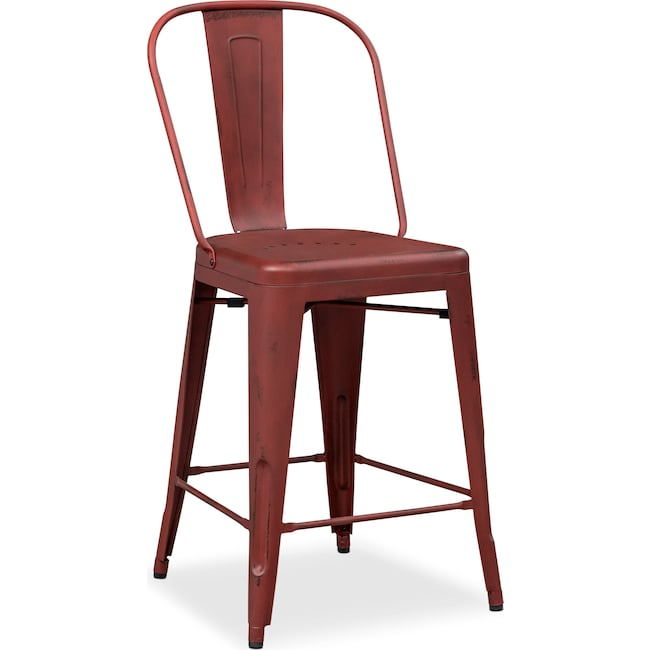Dining Room Furniture - Olin Splat-Back Barstool - Red