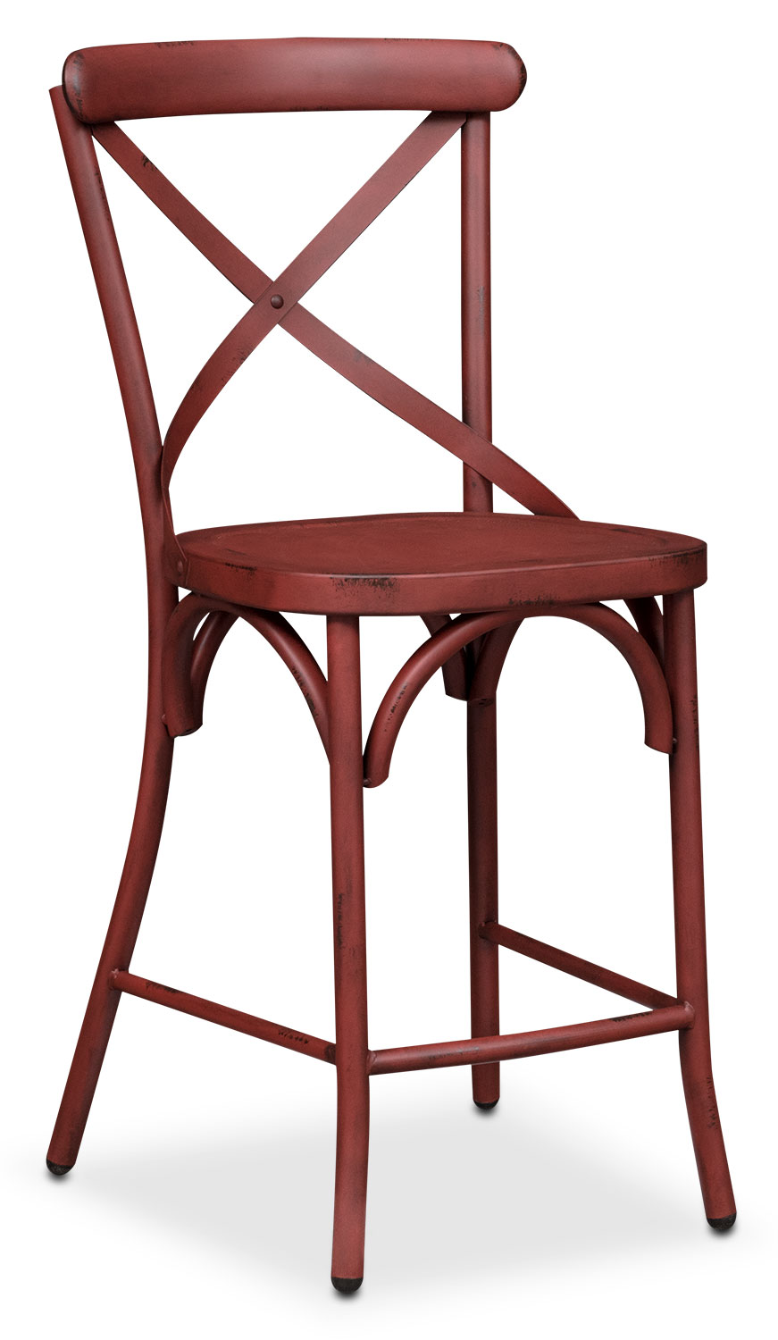 Dining Room Furniture - Saxon X-Back Counter-Height Stool - Red