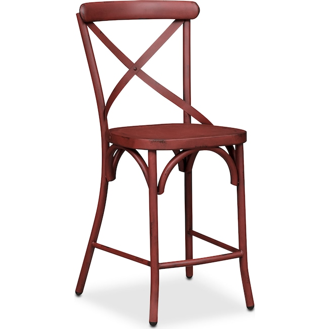 Dining Room Furniture - Saxon X-Back Barstool - Red