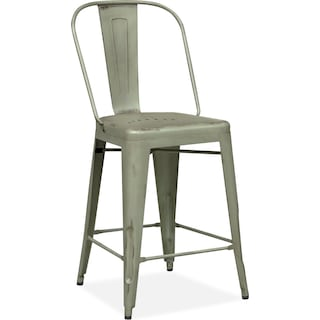 Olin Splat-Back Counter-Height Stool - Green
