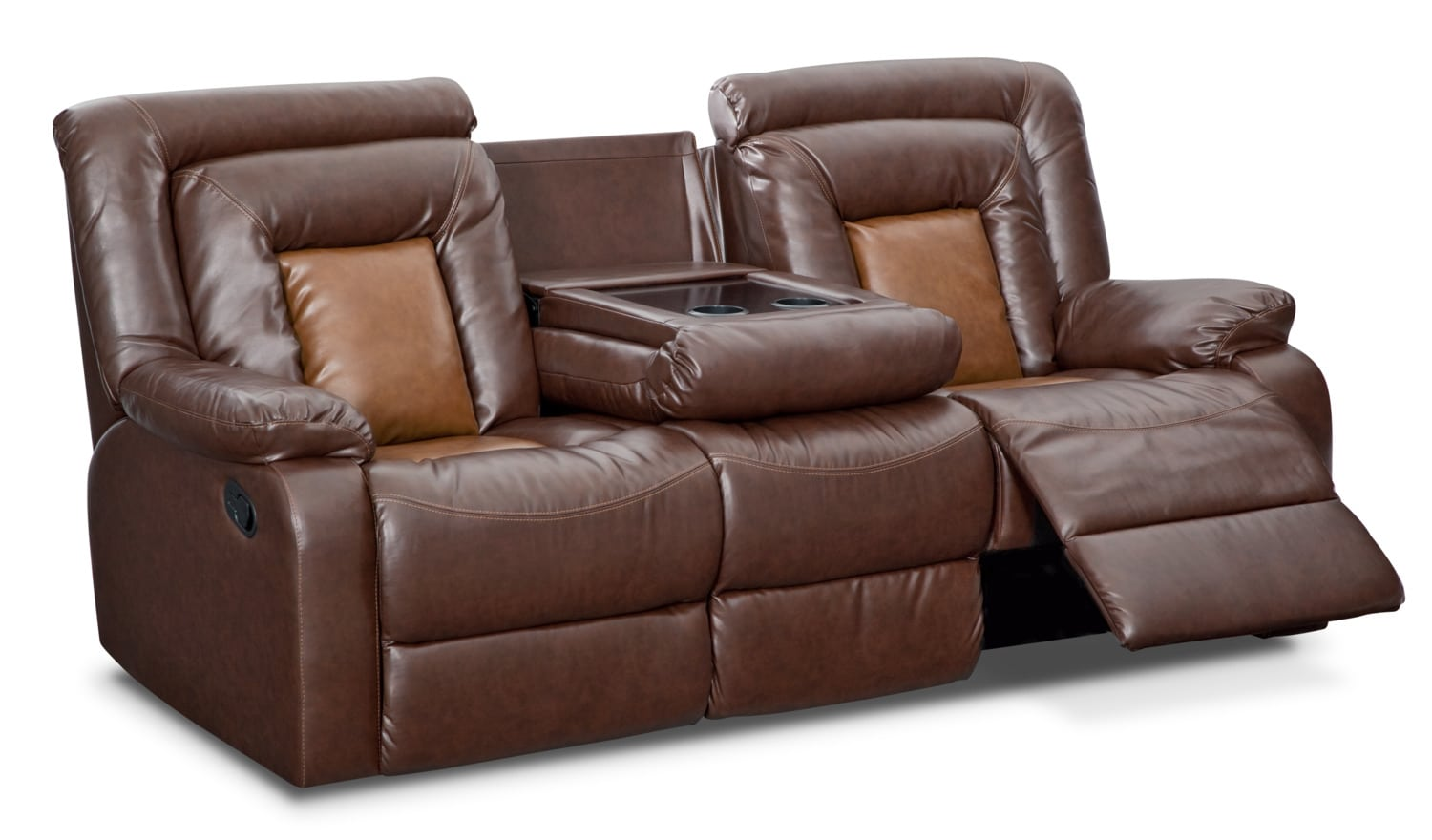 Mustang dual reclining sofa with console brown american signature furniture Loveseats with console