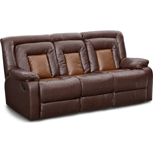 Living Room Furniture - Mustang Dual-Reclining Sofa with Console - Brown