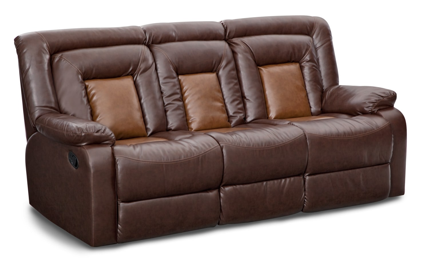 Living Room Furniture   Mustang Dual Reclining Sofa With Console   Brown