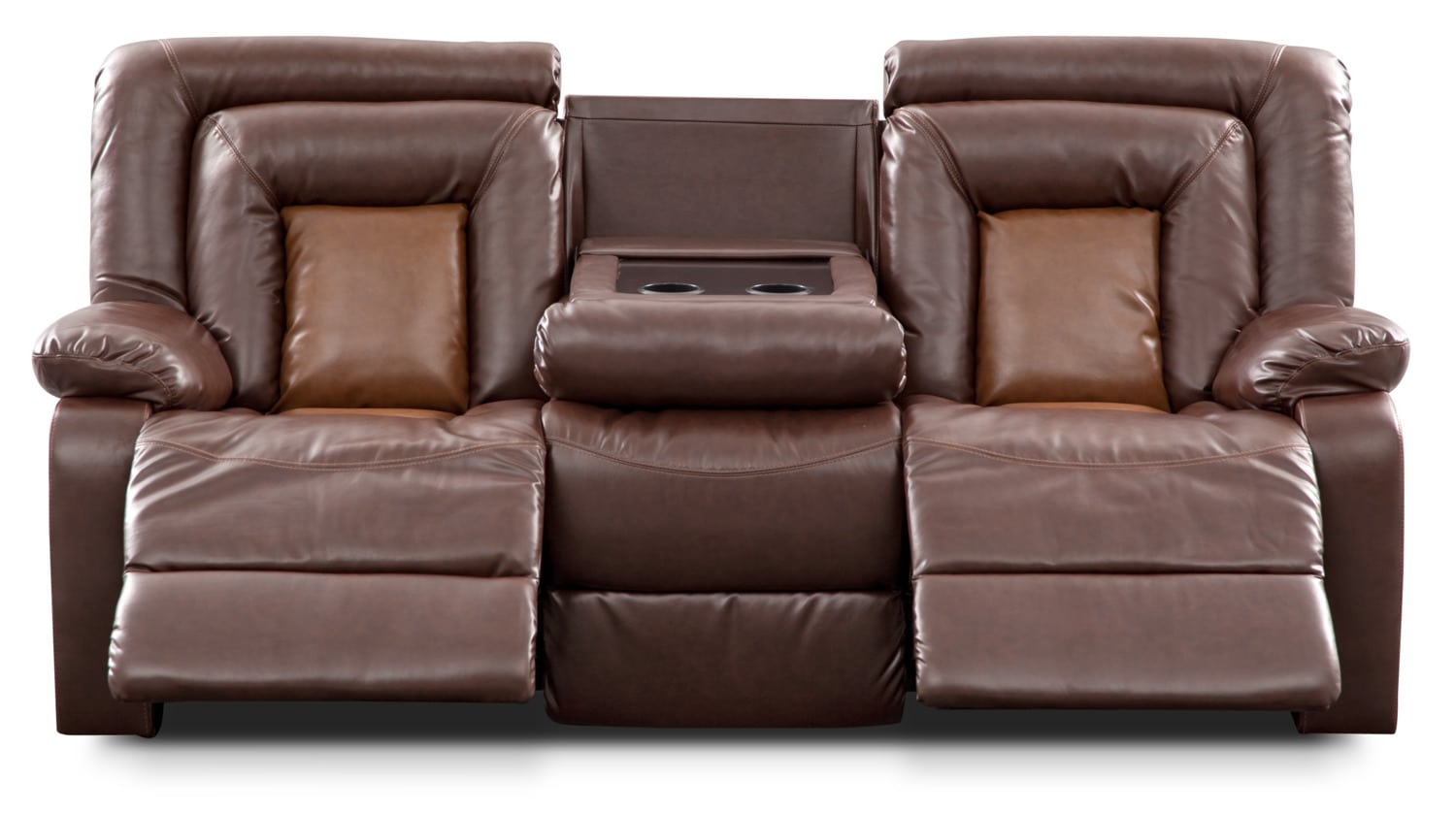 mustang dual reclining sofa with console brown american signature furniture. Black Bedroom Furniture Sets. Home Design Ideas