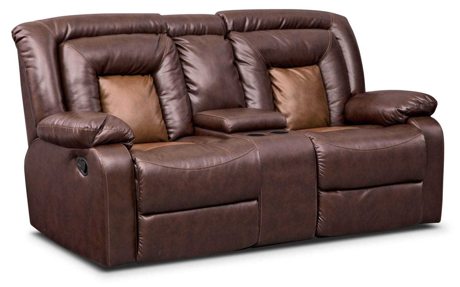Nice Living Room Furniture   Mustang Dual Reclining Loveseat With Console   Brown