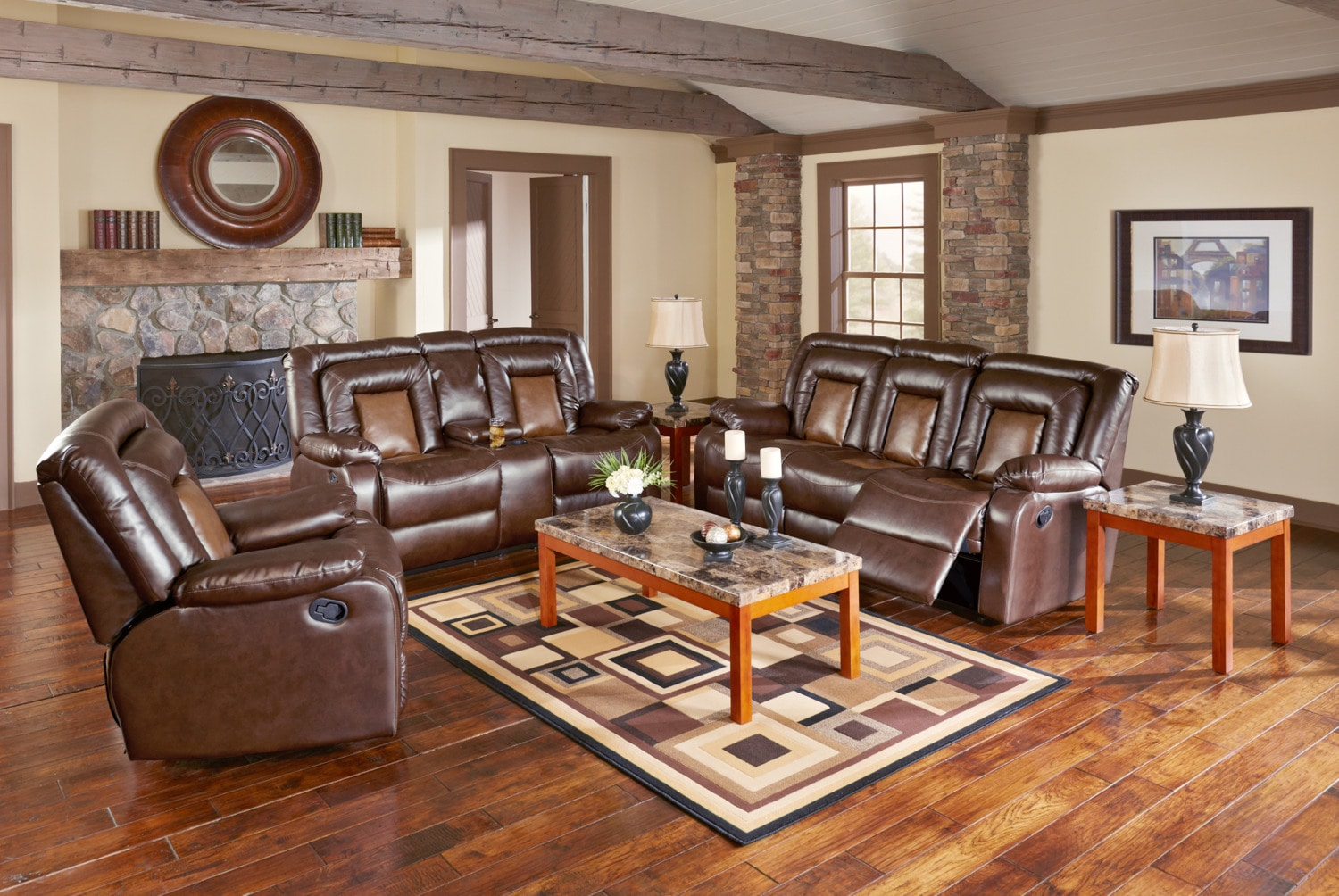 Mustang Dual-Reclining Sofa, Dual-Reclining Loveseat and Recliner Set - Brown