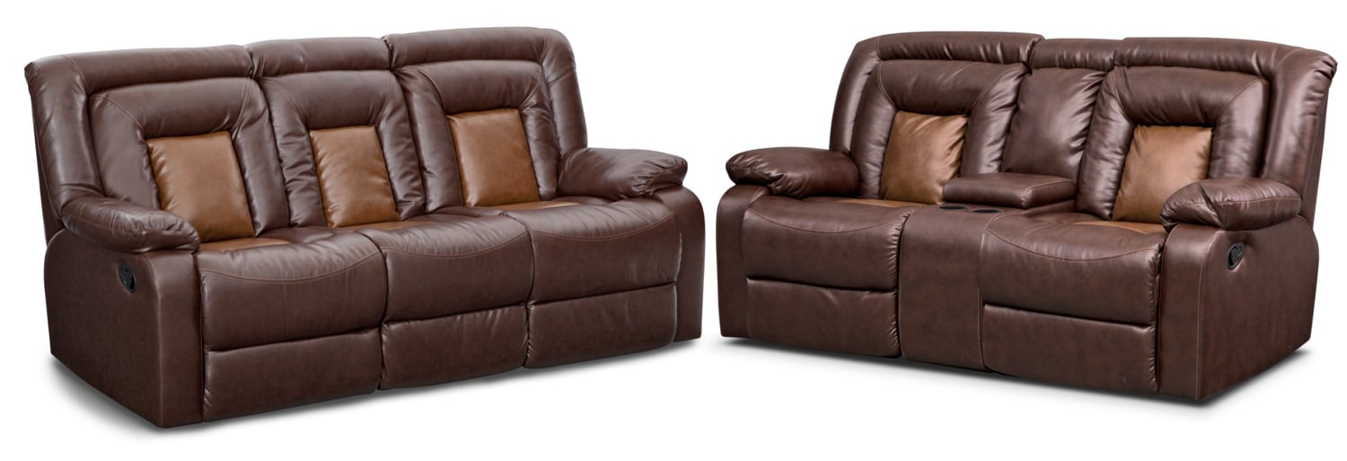 Mustang Dual-Reclining Sofa and Dual-Reclining Loveseat Set - Brown