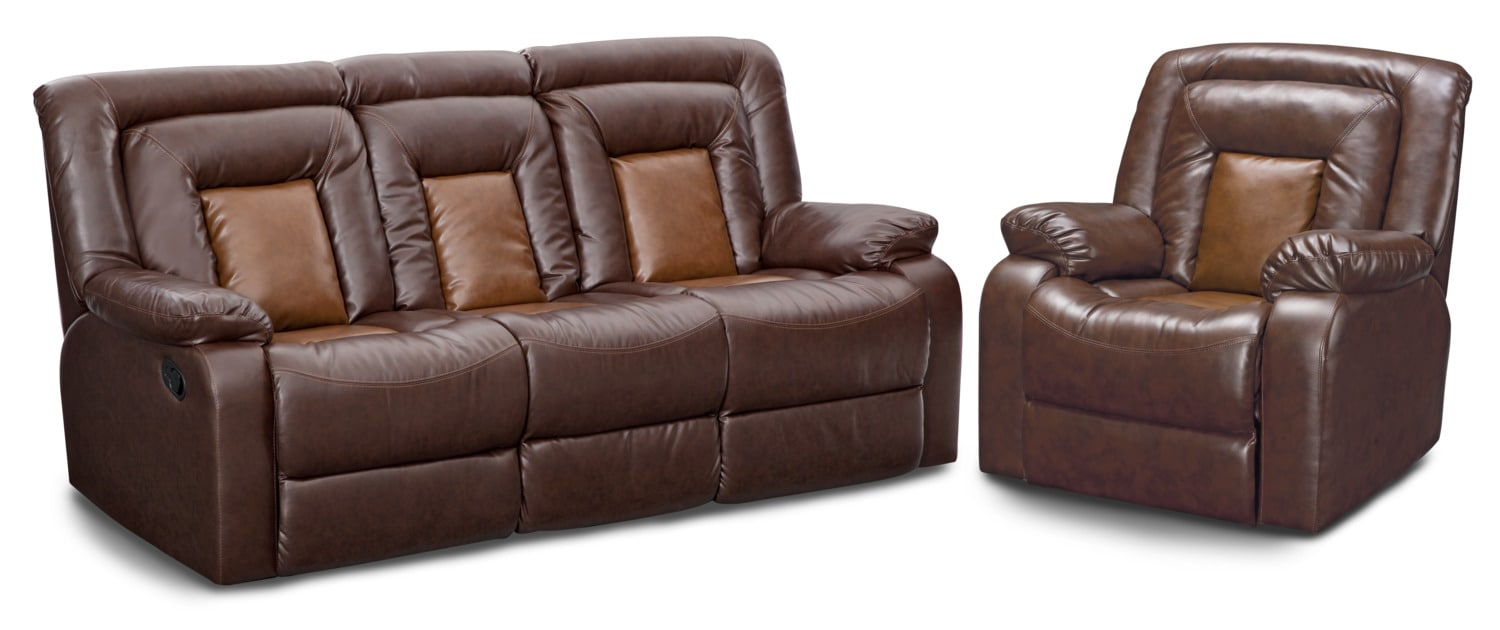 Living Room Furniture - Mustang Dual-Reclining Sofa and Recliner Set - Brown
