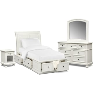 Hanover Youth 6-Piece Twin Sleigh Bedroom Set with Storage - White