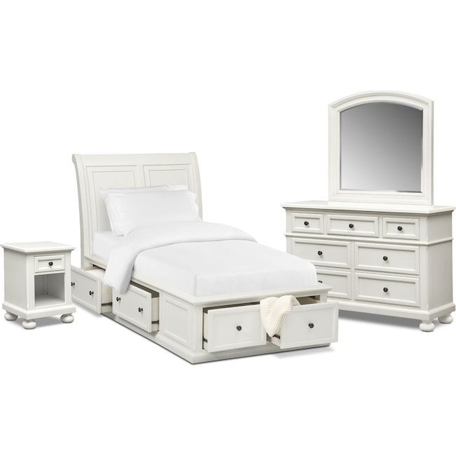 Kids Furniture - Hanover Youth 6-Piece Full Sleigh Bedroom Set with Storage - White