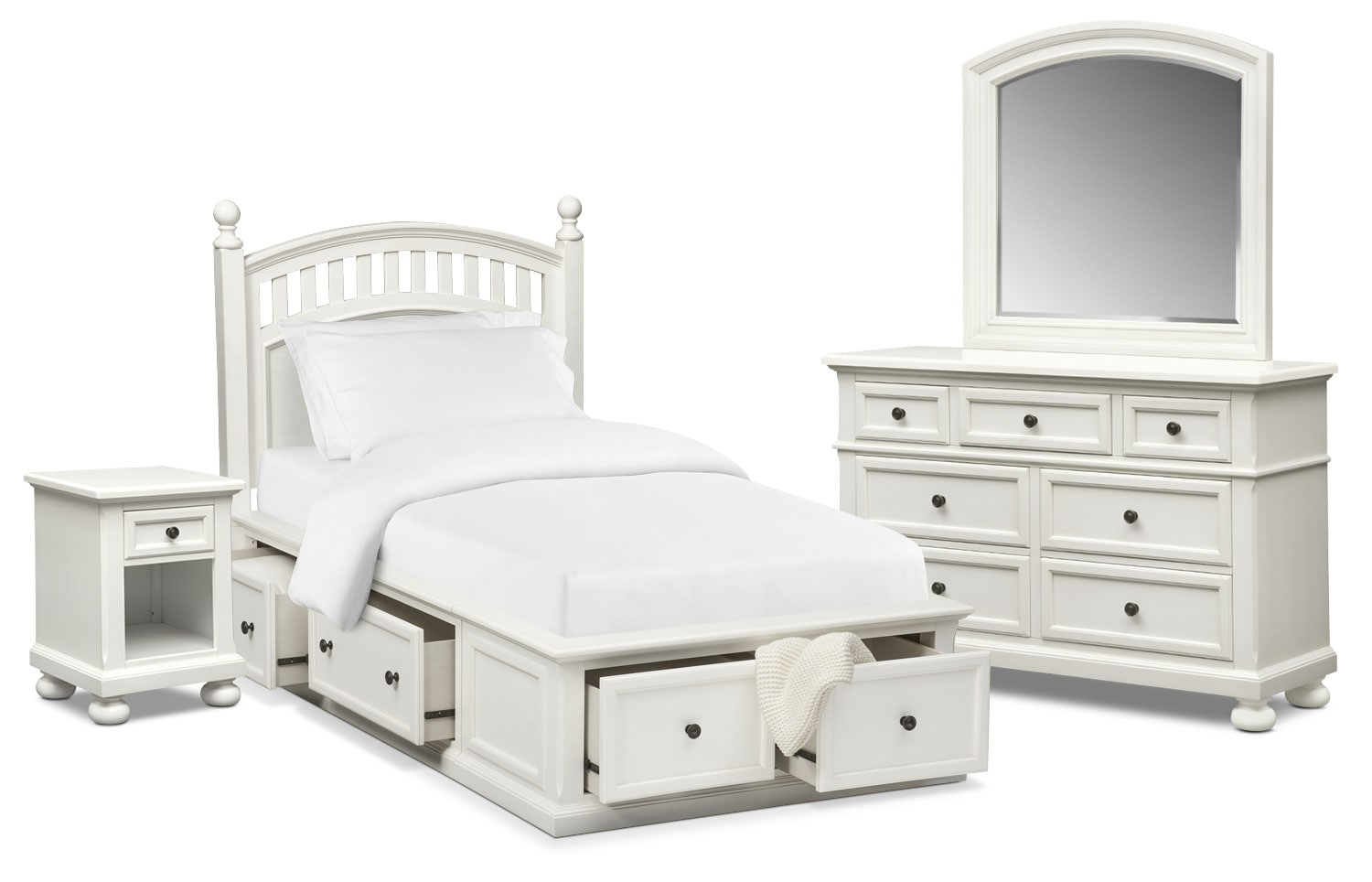 Bedroom Furniture - Hanover Youth 6-Piece Poster Storage Bedroom Set with Nightstand, Dresser and Mirror