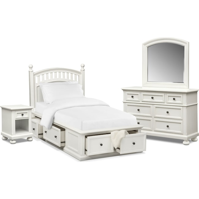 Kids Furniture - Hanover Youth 6-Piece Twin Poster Bedroom Set with Storage - White
