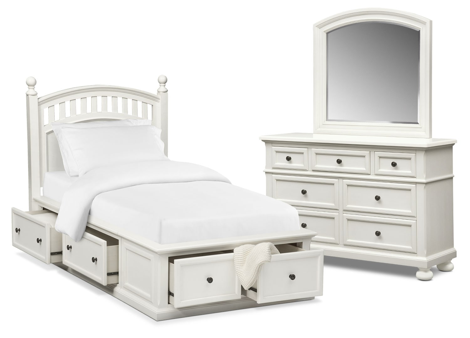 Bedroom Furniture - Hanover Youth 5-Piece Twin Poster Bedroom Set with Storage - White