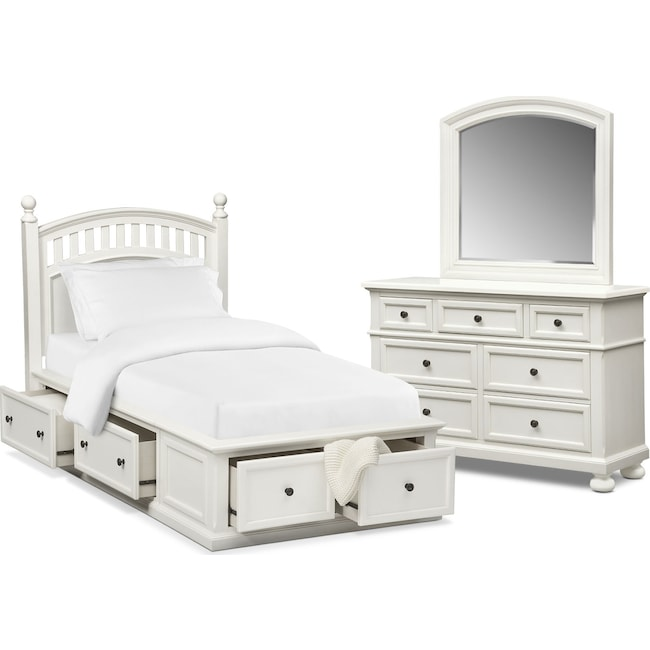 Kids Furniture - Hanover Youth 5-Piece Twin Poster Bedroom Set with Storage - White