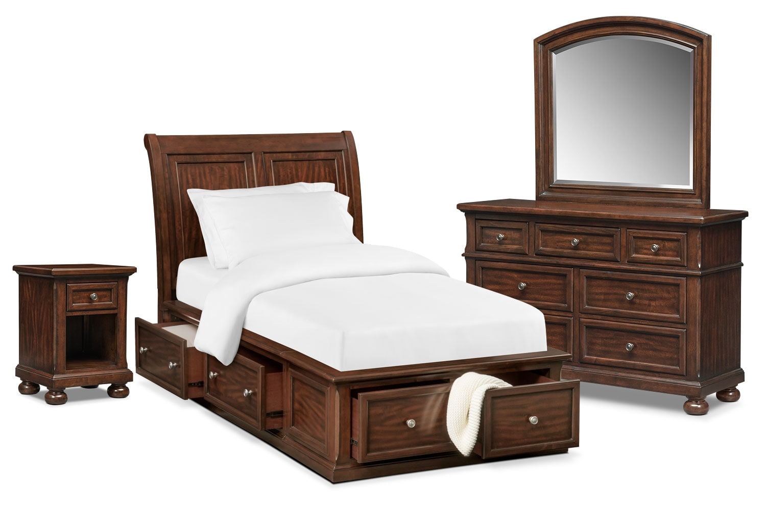 Bedroom Furniture - Hanover Youth 6-Piece Twin Sleigh Bedroom Set with Storage - Cherry