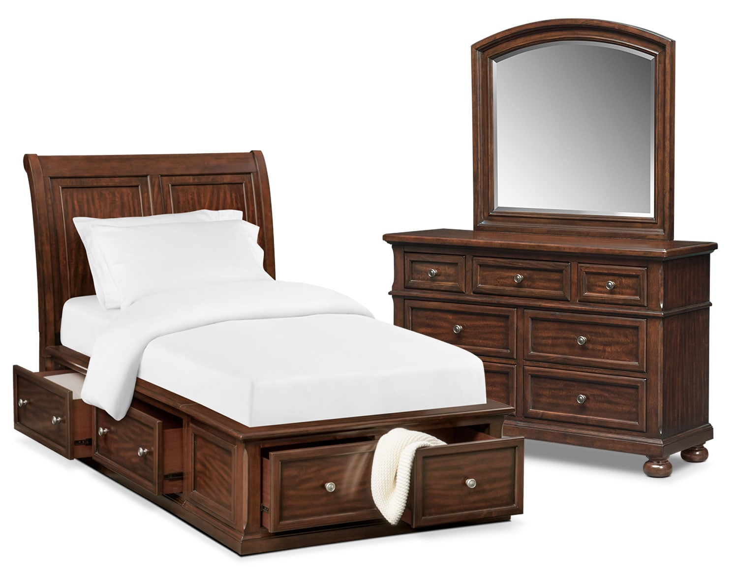 Bedroom Furniture - Hanover Youth 5-Piece Twin Sleigh Bedroom Set with Storage - Cherry