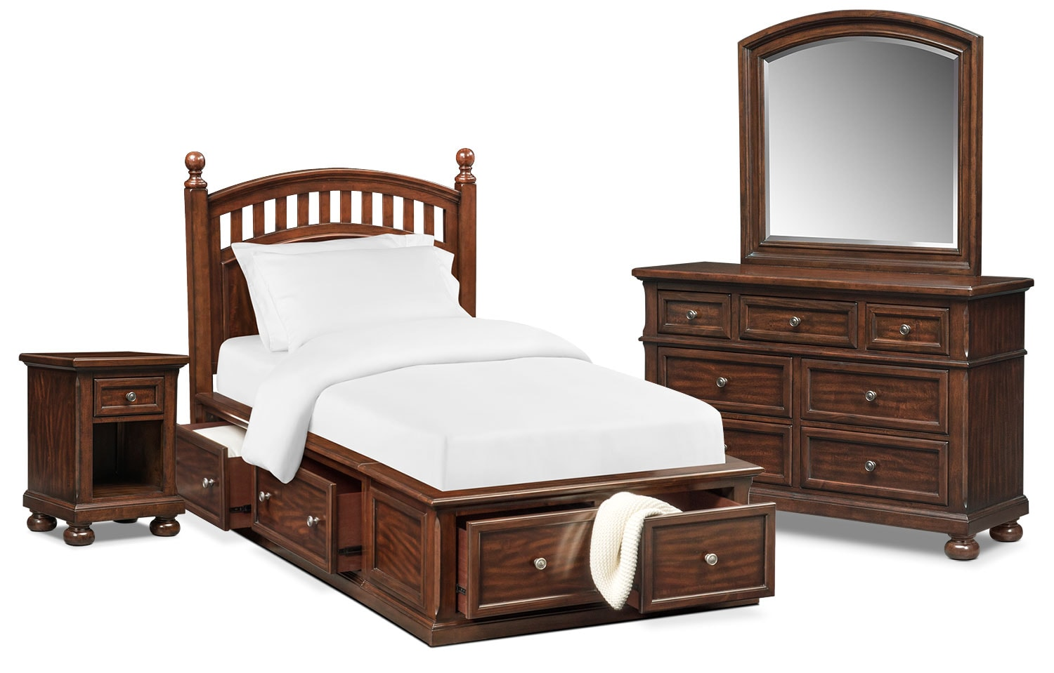 Bedroom Furniture - Hanover Youth 6-Piece Full Poster Bedroom Set with Storage - Cherry