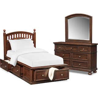 Hanover Youth 5-Piece Poster Bedroom Set with Storage Dresser and Mirror