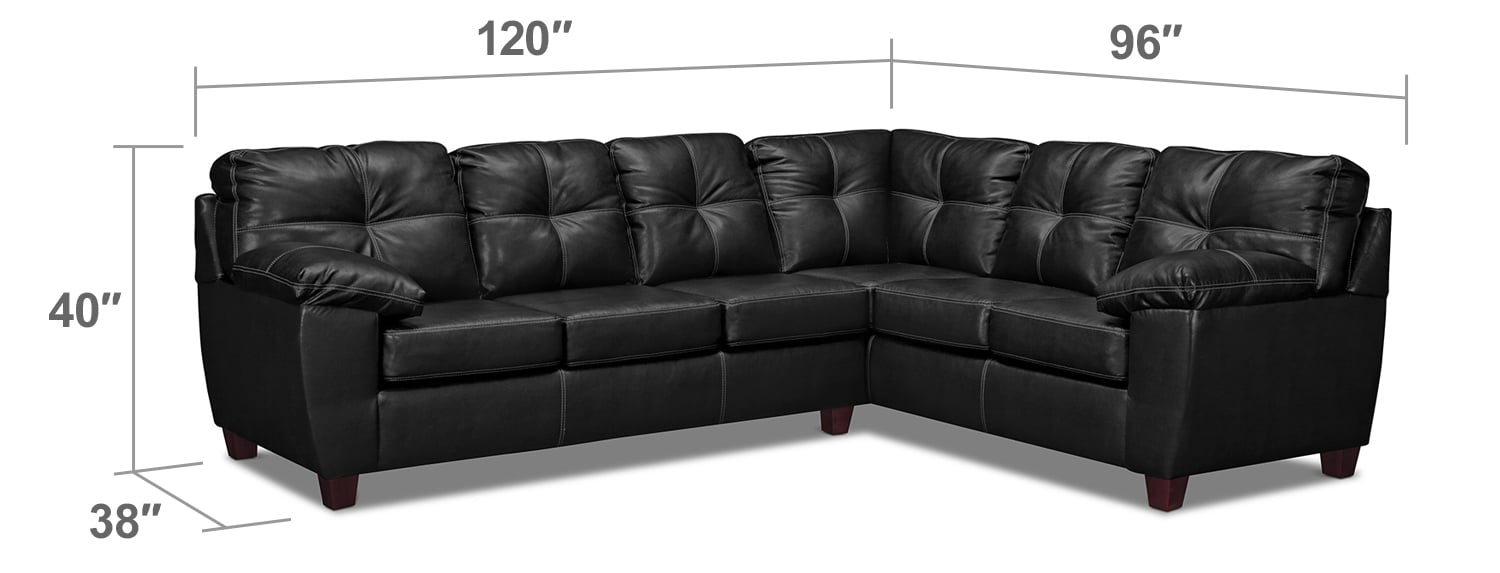 Living Room Furniture - Rialto 2-Piece Innerspring Sleeper Sectional with Left-Facing Sleeper - Onyx